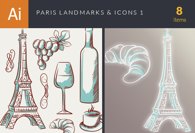 Paris Landmarks And Icons Vector Set 1 Vector packs glass