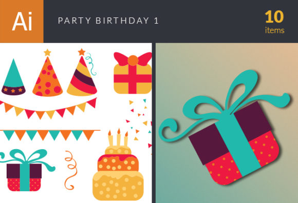Party Birthday Vector Set 1 Vector packs banner