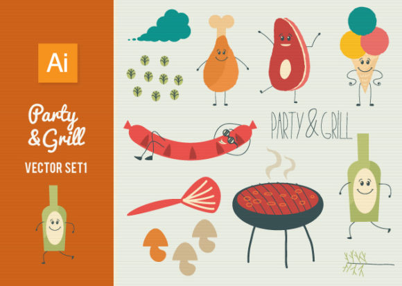 Party Grill Vector Set 1 designtnt party grill vector set 1 vector small