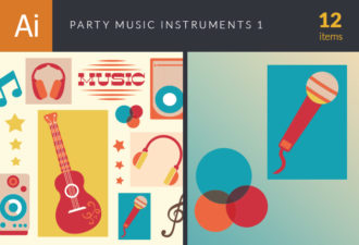 Party Music Instruments Vector Set 1 Vector packs microphone