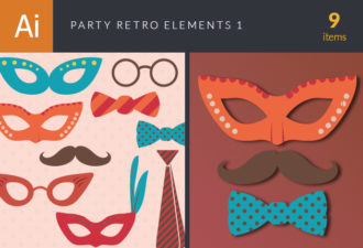 Party Retro Elements Vector Set 1 Vector packs ribbon