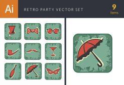 Party Retro Vector Set 2 Vector packs umbrella
