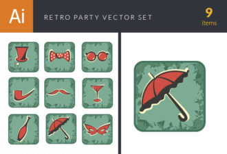 Party Retro Vector Set 2 Vector packs umbrella