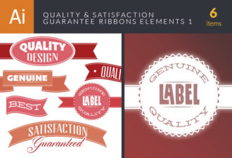 Quality And Satisfaction Guarantee Ribbons Vector Set 1 Vector packs genuine