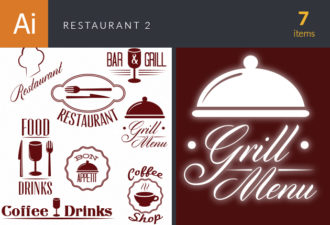 Restaurant And Cafe Vector Set 2 Vector packs Grill