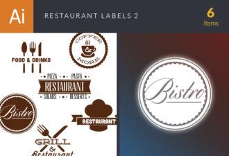 Restaurant Labels Vector Set 2 Vector packs abstract