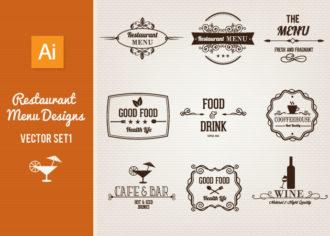 Restaurant Menu Designs Set 1 Vector packs vintage
