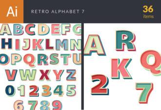 Retro Alphabet Set 7 Vector packs retro