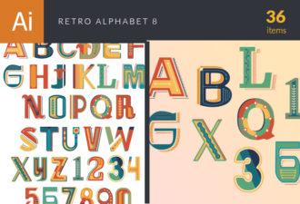 Retro Alphabet Set 8 Vector packs retro
