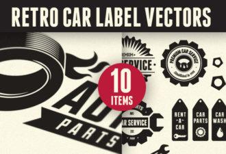 Retro Car Labels Set 1 Vector packs drop