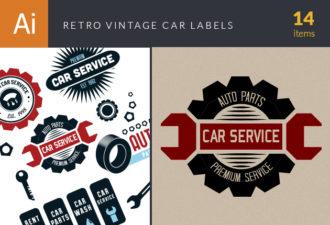 Retro Car Labels Set 2 Vector packs [tag]