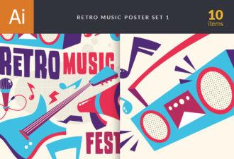 Retro Music Poster Vector Vector packs retro