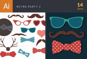 Retro Party Set Vector Set 2 Vector packs retro
