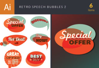 Retro Speech Bubbles Set 2 Vector packs retro
