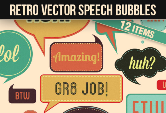 Retro Speech Bubbles Vector Set Vector packs retro