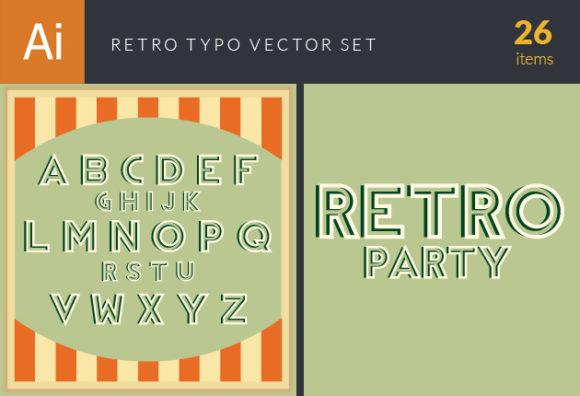 Retro Typo Set 11 Vector packs retro