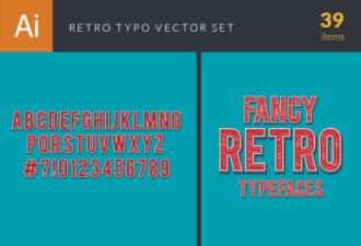 Retro Typo Vector Set 9 Vector packs retro
