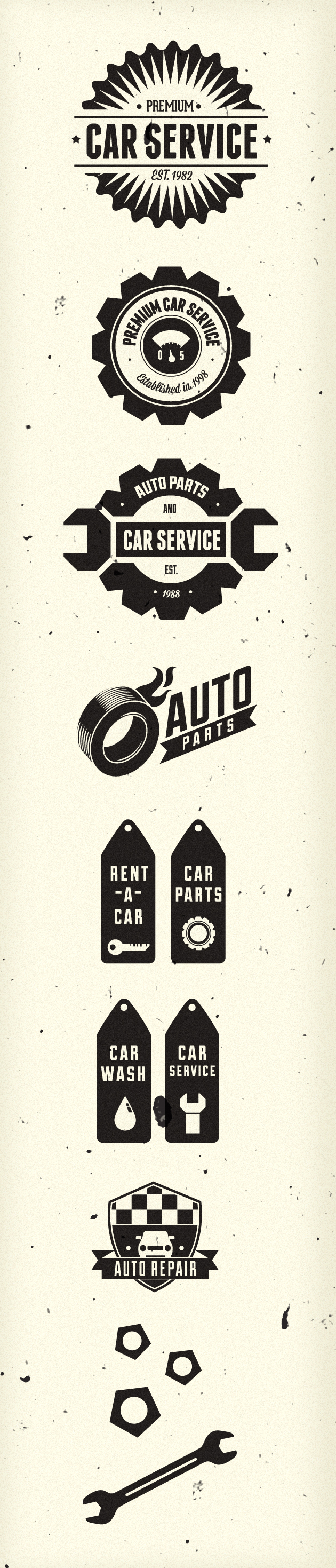 Retro Car Labels Set 1 designtnt retro car labels set 1 vector large
