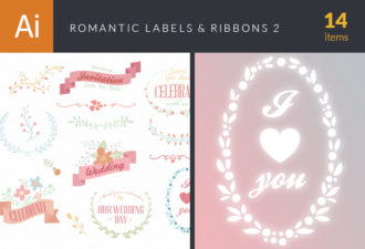 Romantic Labels And Ribbons Vector Set 2 Vector packs flowers