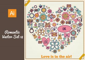 Romantic Vector Set 18 Vector packs heart