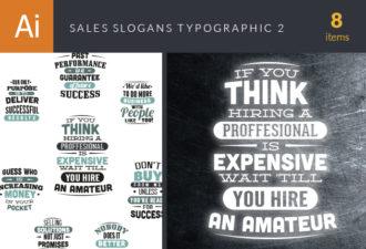 Sales Slogans Typographic Elements 2 Vector packs flat