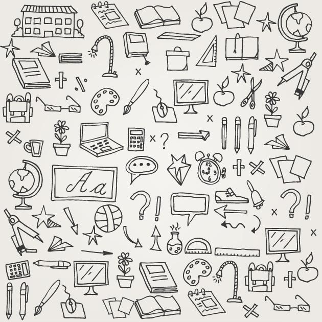 School Doodle Vector Set 1 designtnt school doodle vector set 1 vector large