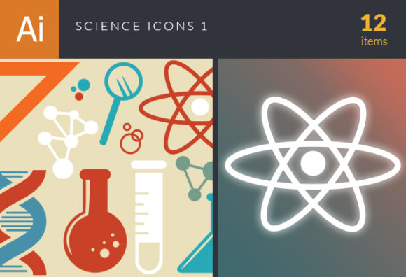 Science Icons Vector Set 1 designtnt science  icons vector set 1 vector small