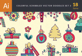 Scribble Scrapbook Vector Elements Set 2 Vector packs flower