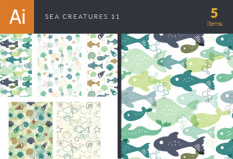 Sea Creatures Vector Patterns Set 11 Vector packs patterns
