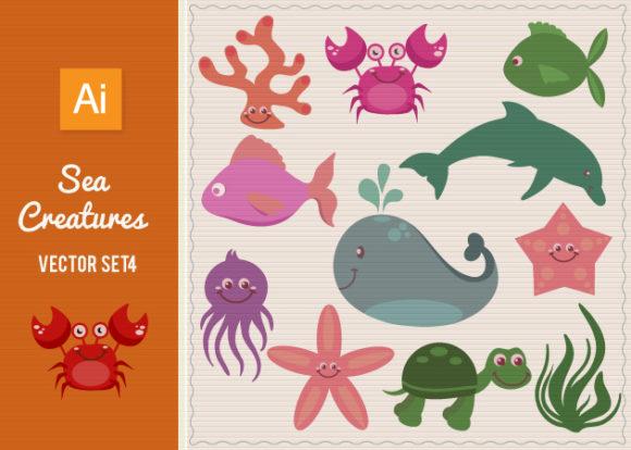 Sea Creatures Vector Set 4 1