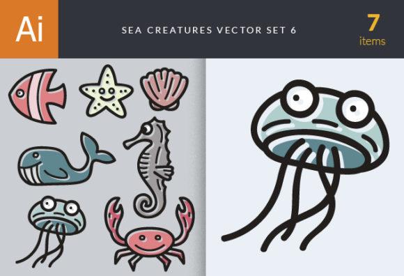 Sea Creatures Vector Set 6 designtnt sea creatures vector set 6 vector small