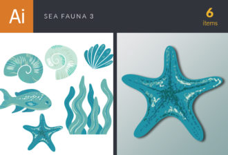 Sea Fauna Vector Set 3 Vector packs shell