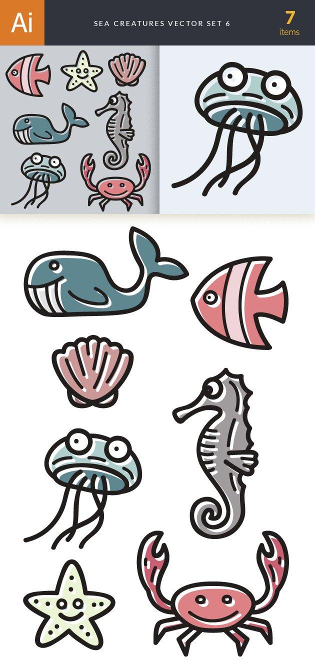 Sea Creatures Vector Set 6 designtnt sea creatures vector set 6 vector large