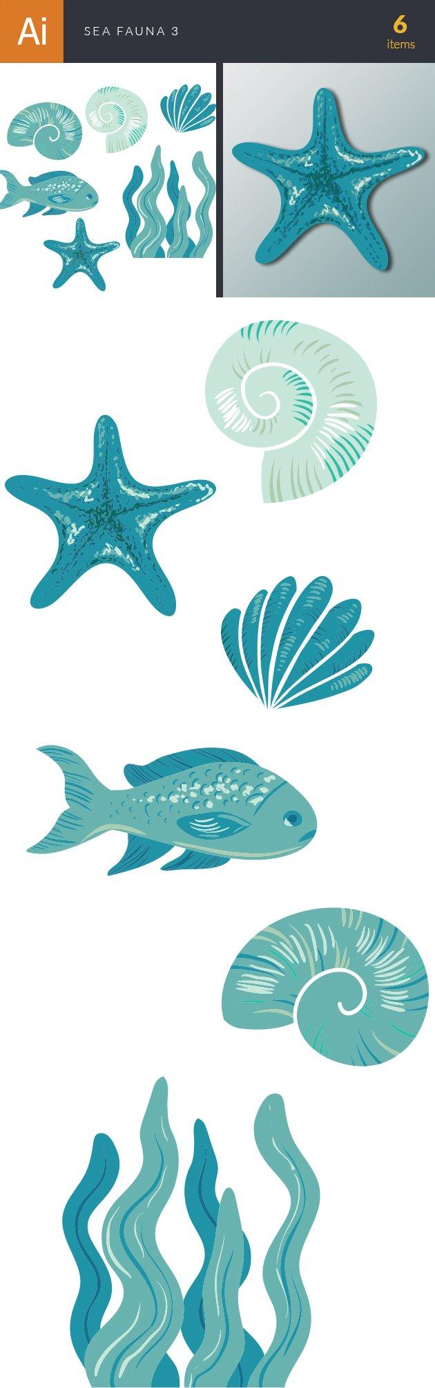 Sea Fauna Vector Set 3 designtnt sea fauna vector set 3 vector large