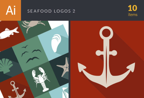Seafood Logos Vector 2 designtnt seadfood logos vector 2 vector small