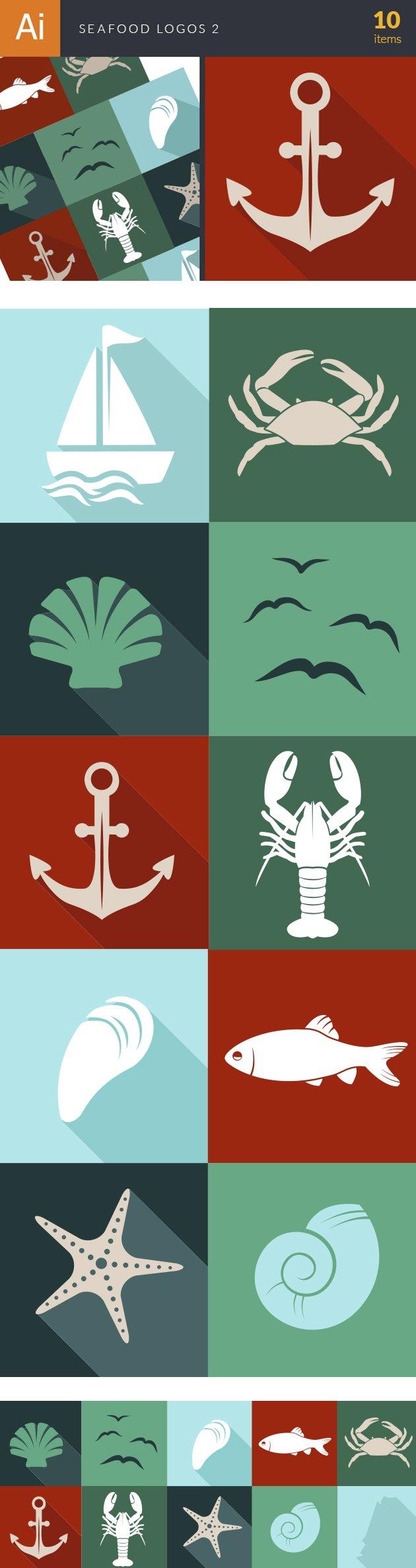 Seafood Logos Vector 2 designtnt seadfood logos vector 2 vector large