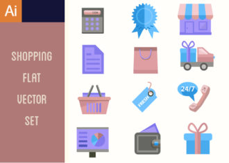Shopping Flat Vector Set 1 Vector packs building