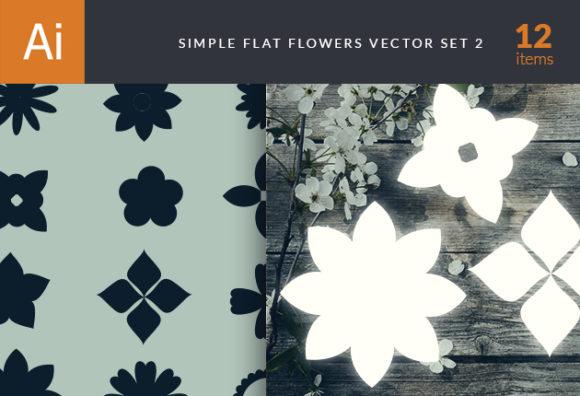 Simple Flat Flowers Set 2 Vector packs nature