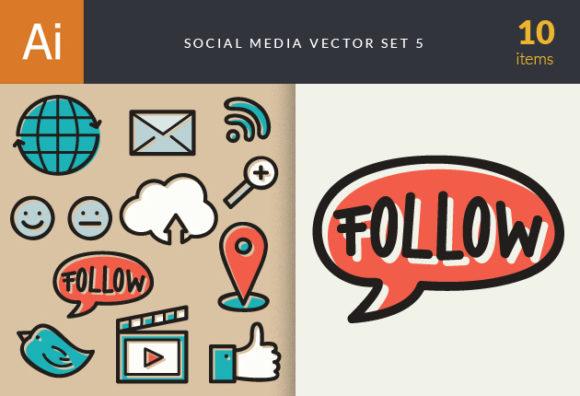 Social Media Doodle Vector Set 5 5