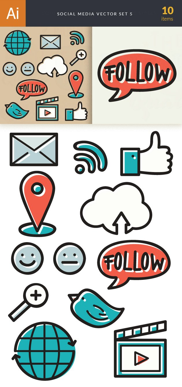 Social Media Doodle Vector Set 5 6