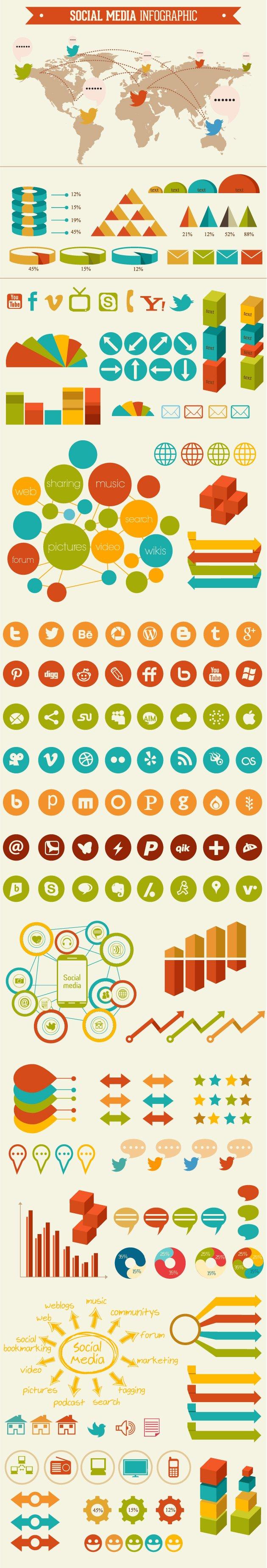 Social Media Infographic Vector 2