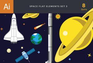 Space Flat Icon Vector Set 3 Vector packs sun