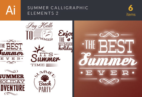 Summer Calligraphic Vector Elements Set 2 Vector packs [tag]