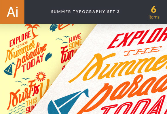 Summer Typography Vector Set 3 Vector packs Editor's Picks - Typography