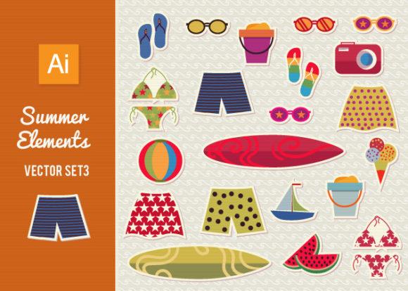 Free Summer Elements Vector Set 1