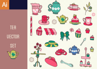 Tea Party Vector Set 1 Vector packs flower
