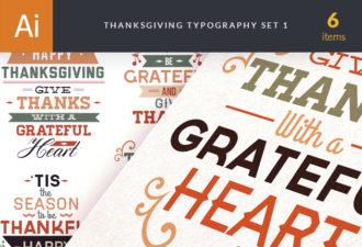 Thanksgiving Typography Vector Set 1 Vector packs Editor's Picks - Vector Packs