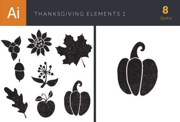 Thanksgiving Vector Elements Set 1 Vector packs flower