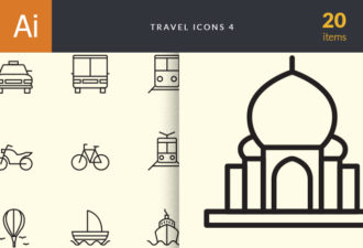 Travel Icons Set 4 Vector packs car