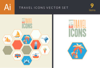 Travel Icons Vector Set 1 Vector packs palm tree